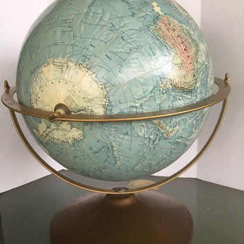Vintage REPLOGLE Double Axis Land and Sea Globe    Home/Office Decor   Raised Topography