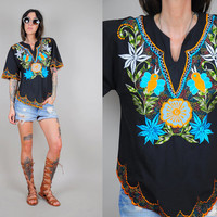 vtg 70's EMBROIDERED tropical FLORAL Cotton Ethnic Oaxacan Shirt hippie bohemian
