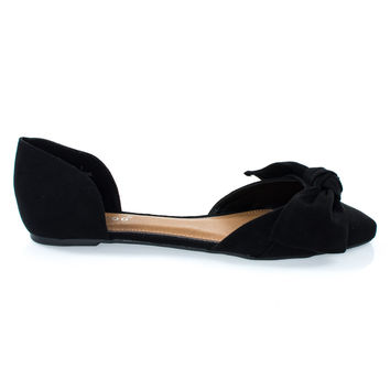 Sequel88S Black By Bamboo, Women's Slip On Pointed Toe D'Orsay Double Open Shank Flat w Bow