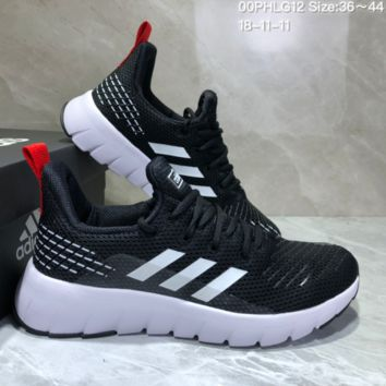 AUGUAU A493 Adidas Low Shock Non-skid Casual Running Shoes Black White Red