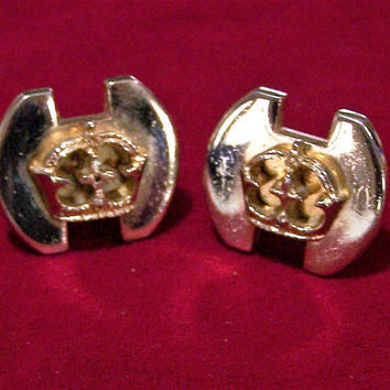 Swank Mens Crown Design Cuff Links, Gold Tone Setting, Classic Office Style, Mid Century Cufflinks Jewelry 517