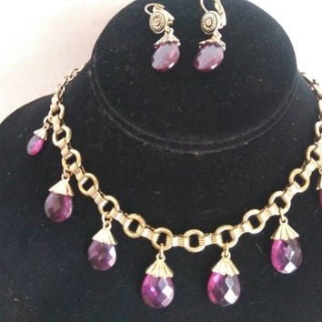 Avon Vintage Purple Waterfall Bib Statement Necklace & Dangle Earrings, Demi Parure Set, Old Hollywood Glam, Signed Runway Bold Jewelry