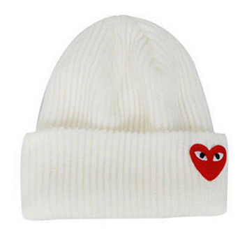 Red Heart Face Man Winter Warm Thick Knitted Heart Shaped Beanie Casual Women's Outdoor Street Dance Fitted White Cuffed Skully Hat
