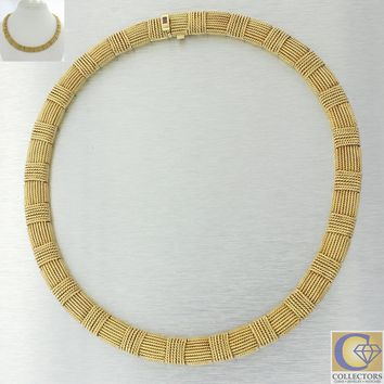 Roberto Coin Estate 18k Yellow Gold 11mm Wide Silk Weave Choker Necklace J8 16""