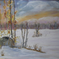 "Original oil painting, ""The message of te winter"" on canvas, 13,4x19,7 inch. (34x50 cm) ,Quality of work, home decoration"