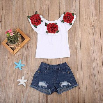 Pudcoco 2017 Fashion Toddler Kids Baby Girls 3D Flower Tops+Denim Hot Shorts Outfits Clothes 0-6Y