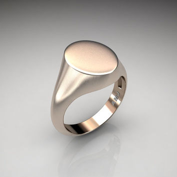 Gentlemens Modern 14K Rose Gold Oval Signet Ring R487M-14KBRG