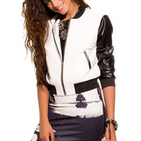 Bomber jacket with leather look sleeves