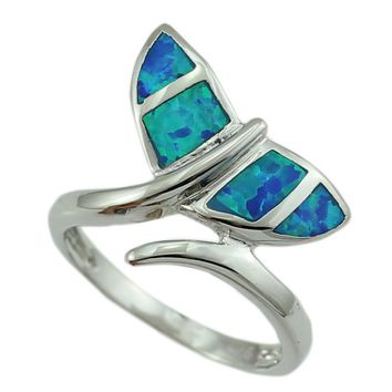 Whale Tale Blue Opal Silver Plated Ring