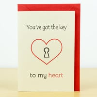 LOVE card - Valentines card, love you card, romantic cards, valentine card him, key to my heart, valentine card her, hand made greeting card