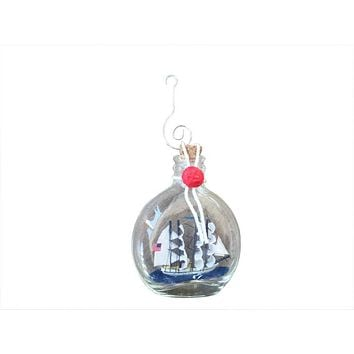 """Flying Cloud Model Ship in a Glass Bottle Christmas Ornament 4"""""""