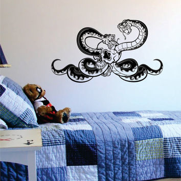 Skull and Snakes Version 2 Decal Sticker Wall Vinyl Art Teen Boy Kid Animal Decor