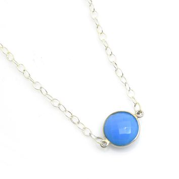 Bezel Faceted Sterling Silver Gemstone Necklace in Blue Chalcedony