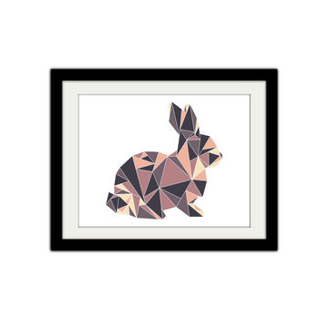 """Abstract Geometric Bunny Poster. Triangles. Simple, modern, minimal. 8.5x11"""" Print."""