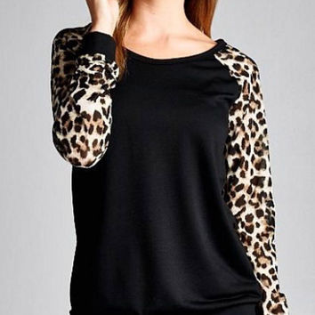 Long Sleeve Tunic Top with Leopard Sleeves - Black