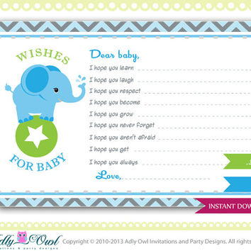 Boy Elephant Wishes for Baby, Advice Card, Blue Chevron Card for a boy Elephant baby shower. Elephant on ball green, blue,grey, star-oz01