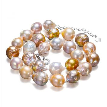 SNH 11-12mm AA baroque mixed color 925silver 18inches Natural Freshwater Pearl Necklace Wedding Jewelry Bridal Real