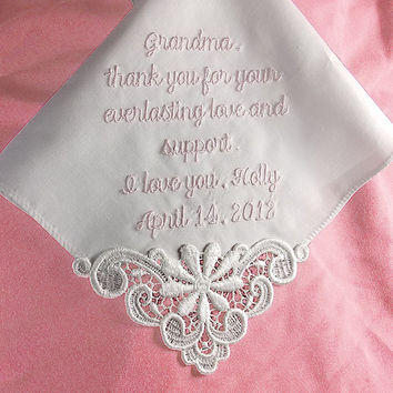 Gift for Mother of the Bride Custom Embroidered Personalized Hankerchief Cotton 9301C