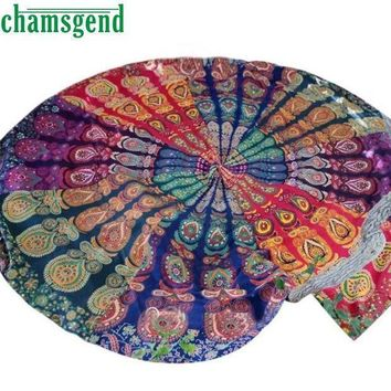 Print Round Blanket Fitness Pilates Yoga Mat Swimming Cover Up Sun Bath Beach Towel Tapestry Picnic Camping Out Dec19