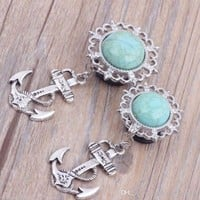 """PAIR-Turquoise w/Anchor Dangle Steel Single Flare Plugs 14mm/9/16"""" Gauge Body Je"""