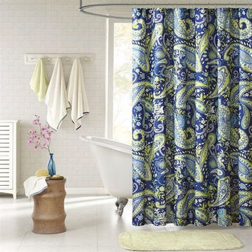 72 x 72-inch Blue Green Paisley Bathroom Shower Curtain in Polyester