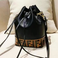 Fendi retro wild letter printing drawstring shoulder bag portable small bucket bag
