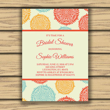 Aztec Design Bridal or Baby Shower Invitation, 5x7 inch, Printable,  Orange, Red, Blue, Colorful Invitations, Printable Invitations,