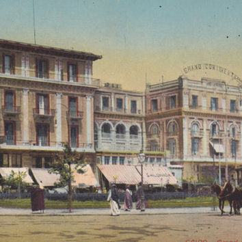 CAIRO, EGYPT, Vintage Postcard, Continental HOTEL, Buildings, Street, Traditional Dress, Carriage, Automobile, People, Unused, c. 1910s