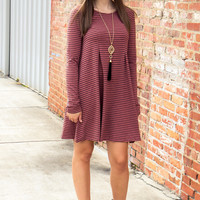 Sweet Striped Dress - Red