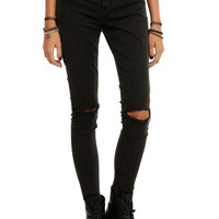 LOVEsick Faded Smoke Slit Knee 3-Button Super Skinny Jeggings