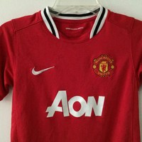 Sale!! Vintage Nike Manchester United Home Soccer Jersey Mufc Football Shirt Size Boys