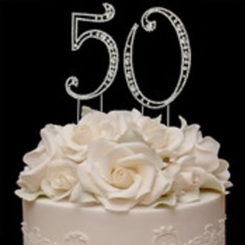 Vintage ~ 50th Anniversary 50th Birthday Swarovski Crystal Cake Topper Gold or Silver