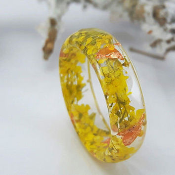 Thin Faceted Band Ring - Resin Stacking Ring - Minimal Resin Jewelry - Nature Inspired Rings - Rings Flower