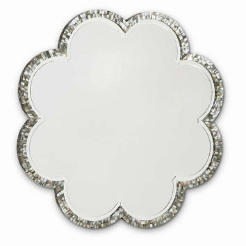 mood ring mirror mother of pearl flower large roun