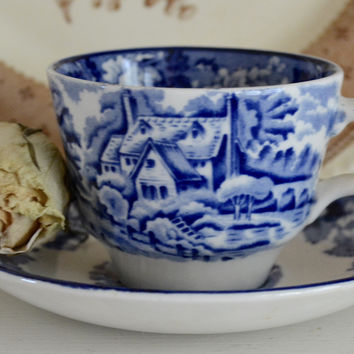 Blue Transferware Demi Demitasse Cup and Saucer English Scenery Wood & Sons