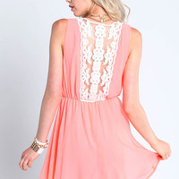 NEON CORAL EMBROIDERED DRESS