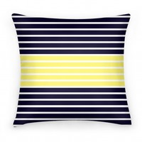 Navy and Yellow Stripe Pillow