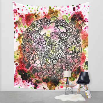 Raspberry Swirl Wall Tapestry by Jenndalyn
