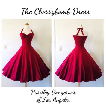 CLEARANCE Sale, Burgundy Wine Stretch Knit Swing Dress, Casual Lightweight Summer Day Dress, Full Swing Skirt with Halter Straps
