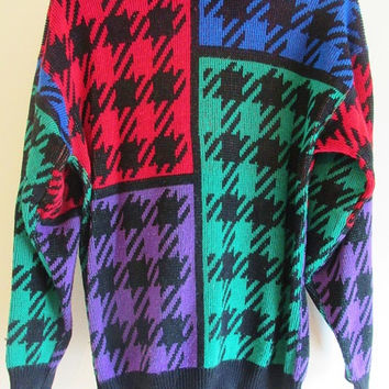 Women's Vintage 80's Retro Colored Houndstooth Mock Neck Sweater Sz S
