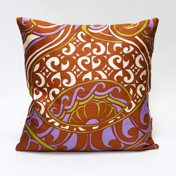 Vintage fabric cushion cover, 70s retro throw pillow, 40x40 / 16x16 in brown,lilac and green