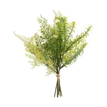"Artificial Mixed Greenery Leaf Bush - 13"" Tall"