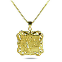 18k gold plated sterling silver Chinese Zhu, the Lucky Bamboo for positive spirit pendant necklace in a gift box
