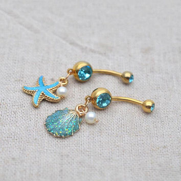 shell belly ring,belly button rings,starfish navel ring,navel piercing jewelry,grilfriend gift