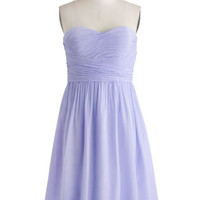 ModCloth Pastel Long Strapless A-line Under a Blue Sky Dress in Iris