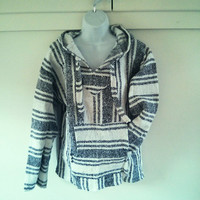 Mexican Baja Hoodie- Small/ urban outfitters/ hippie / boho/ gypsy/ surfwear / surfer / pullover / drug rug / black white