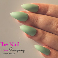 Mint Green Matte False Nails -  Set of Handpainted Fake Nails - Choose Stiletto Nails, Oval or Square Nails - Nails with a Matte Look