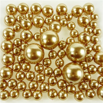 Assorted Plastic Bead Pearls, 14mm 20mm 30mm, 76-Piece, Gold