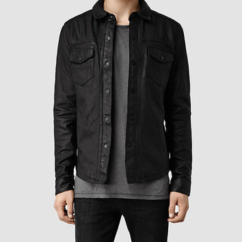 Mens Alberton Leather Shirt (Black) | ALLSAINTS.com