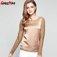 Women's shirts  Blouses  long sleeve formal chiffon blouses white black 9 clolor silk tops and tees slim Y046